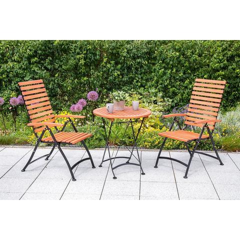MERXX Tuinmeubelset , 3-dlg., 2 stoelen en 1 tafel Ø 70 cm, inklapbaar, eucalyptus