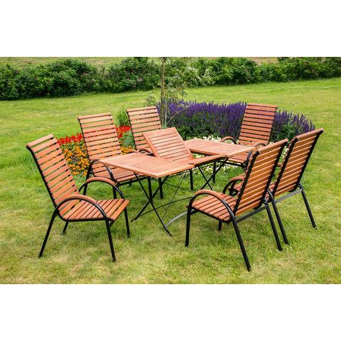 MERXX Tuinmeubelset Schloßgarten, 7-dlg., 6 stoelen, tafel, inklapbaar, eucalyptus
