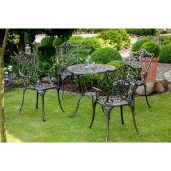 merxx tuinmeubelset »lugano«, 5-dlg., 4 stoelen, tafel ø 70 cm, aluminium, zwart zwart