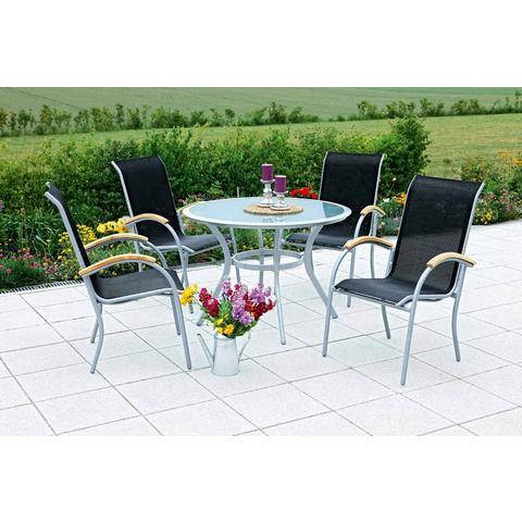 MERXX Tuinmeubelset Siena, 5-dlg., 4 stoelen, tafel Ø 106 cm, stapelbaar, textiel,