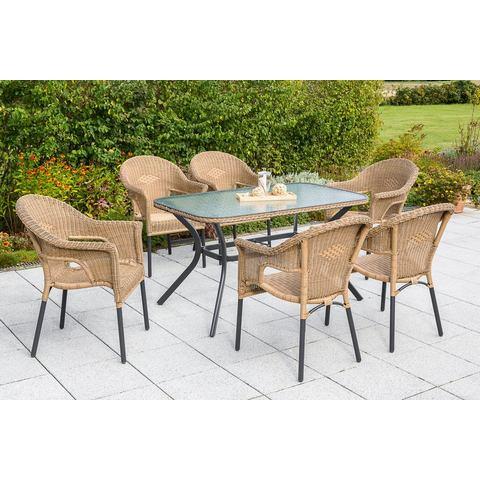 MERXX Tuinmeubelset Ravenna, 7-dlg., 6 stoelen, tafel 80x140 cm, stapelbaar, poly-rotan