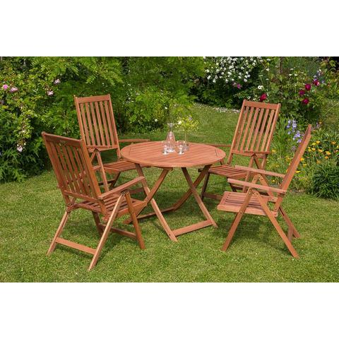 MERXX Tuinmeubelset Vitoria, 5-dlg., 4 stoelen, tafel Ø 100 cm, inklapbaar, eucalyptus