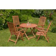 merxx tuinmeubelset »vitoria«, 5-dlg., 4 stoelen, tafel ø 100 cm, inklapbaar, eucalyptus beige