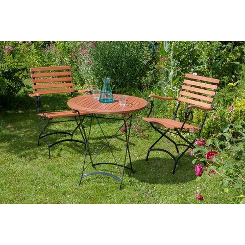 MERXX Tuinmeubelset Schloßgarten, 3-dlg., 2 stoelen en 1 tafel Ø 70 cm, inklapbaar, eucalyptus