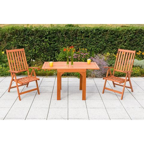MERXX Tuinmeubelset Vitoria, 3-dlg, 2 stoelen,tafel,inklapbaar,uittrekbaar,eucalyptus