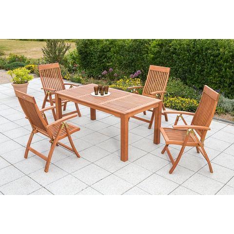 MERXX Tuinmeubelset Commodoro, 5-dlg., 4 stoelen, tafel 90x170 cm, inklapbaar, eucalyptus
