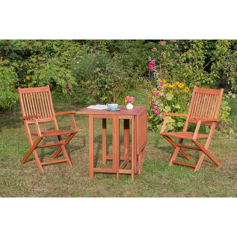 MERXX Tuinmeubelset Rio, 3-delig, 2 stoelen, tafel 65x107 cm, inklapbaar, eucalyptus
