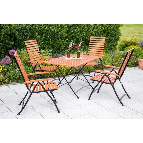 MERXX Tuinmeubelset Schloßgarten, 5-dlg., 4 stoelen, tafel 80x120 cm, inklapbaar, eucalyptus
