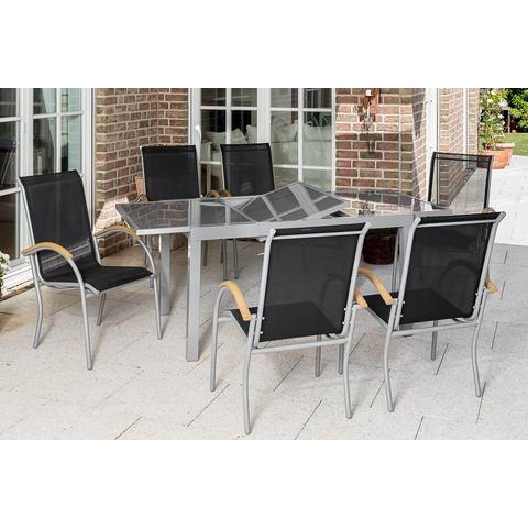 MERXX Tuinmeubelset Siena, 7-dlg., 6 stoelen, tafel, stapelbaar, uittrekbaar, textiel