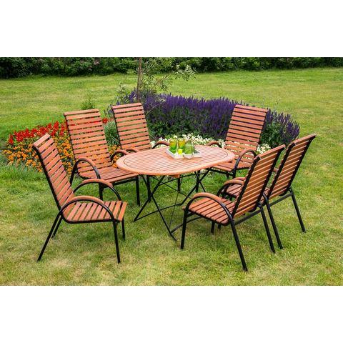 MERXX Tuinmeubelset Schloßgarten, 7-dlg., 6 stoelen, tafel, stapelbaar, inklapbaar, eucalyptus