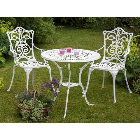 MERXX Tuinmeubelset Lugano, 3-dlg., 2 stoelen, tafel Ø 70, aluminium, wit