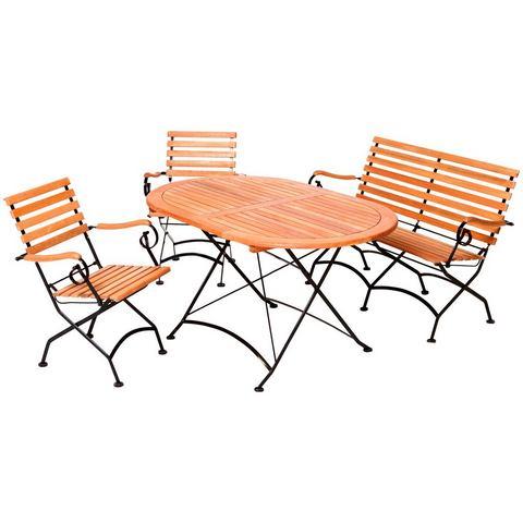 MERXX Tuinmeubelset Schloßgarten, 4-dlg., 2 stoelen, bank, tafel 90x140cm, eucalyptus