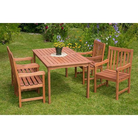 MERXX Tuinmeubelset Santos, 5-dlg., 4 stoelen, tafel 90x150 cm, eucalyptus, naturel