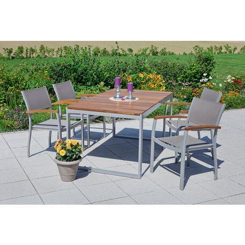 MERXX Tuinmeubelset Naxos, 5-dlg., 4 stoelen, tafel, stapelbaar, uittrekbaar, acacia