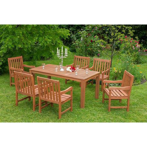 MERXX Tuinmeubelset Santos, 7-dlg., 6 stoelen, tafel 90x170 cm, eucalyptus, naturel