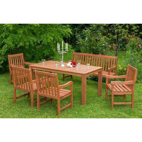 MERXX Tuinmeubelset Santos, 6-dlg., 4 stoelen, bank, tafel 90x170 cm, eucalyptus