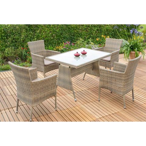 MERXX Tuinmeubelset Trentino, 9-dlg., 4 stoelen, tafel, stapelbaar, poly-rotan