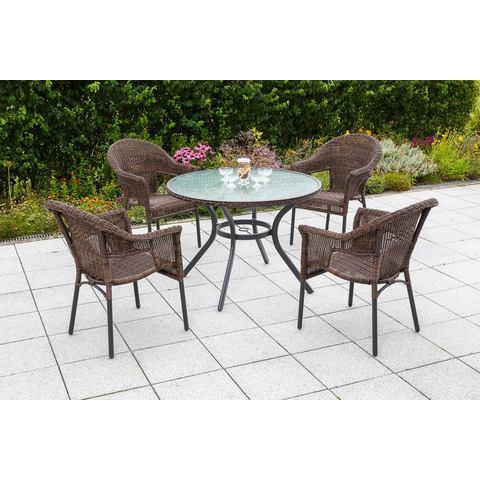 MERXX Tuinmeubelset Ravenna, 5-dlg., 4 stoelen, tafel Ø 100 cm, stapelbaar, poly-rotan