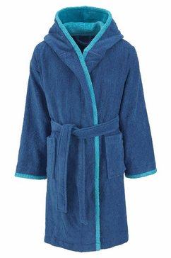 my home kinderbadjas timo met contrasterende gekleurde afwerkingen (1 stuk) blauw
