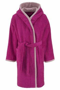 my home kinderbadjas timo met contrasterende gekleurde afwerkingen (1 stuk) roze