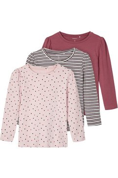 name it shirt met lange mouwen »nmfronla ls top 3p« (packung, 3 tlg.) multicolor