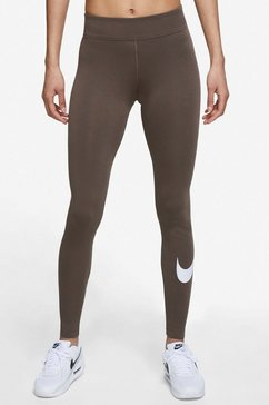 nike sportswear legging essential womens mid-rise swoosh legging bruin