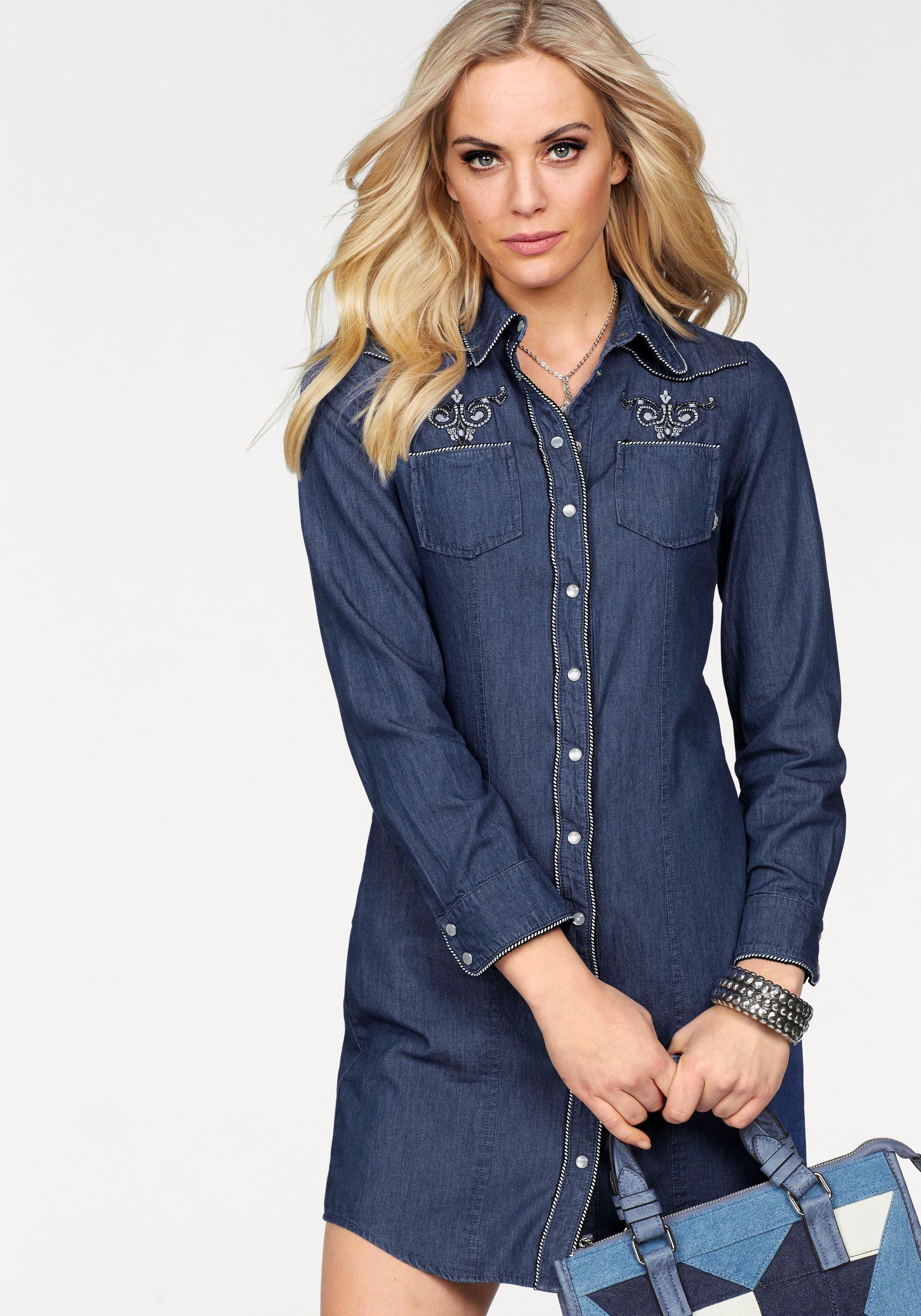 ARIZONA jeansjurk »met chic borduursel in etno-look« bij OTTO online kopen