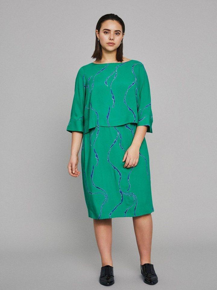 Junarose Gedessineerde jurk groen