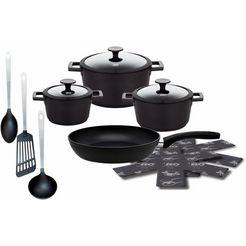 elo pannenset, gietaluminium, inductie, 12 delen, »silocast« zwart
