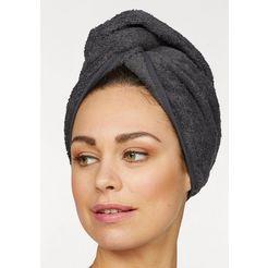 my home tulband-handdoek juna met knoopsluiting op het achterhoofd (set van 2) (2 stuks) grijs