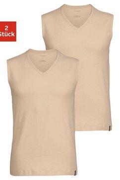 schiesser shirt voor eronder basic muscle-shirts met v-hals (set, 2 stuks, set van 2) beige