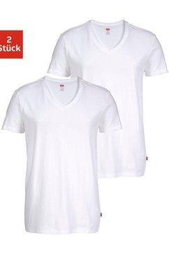 levi's t-shirt met v-hals (set van 2) wit