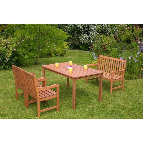 MERXX Tuinmeubelset Santos, 5-dlg., 2 stoelen, 2-zitsbank, tafel 90x150 cm, eucalyptus