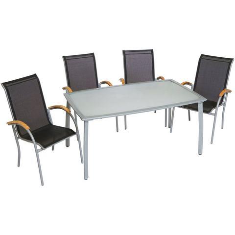 MERXX Tuinmeubelset Siena, 5-dlg., 4 stapelstoelen, tafel 90x150 cm, aluminium/textiel
