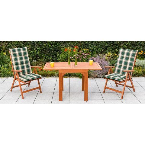 MERXX Tuinmeubelset Vitoria, 5-dlg., 2 klapstoelen, tafel, uittrekbaar, eucalyptus