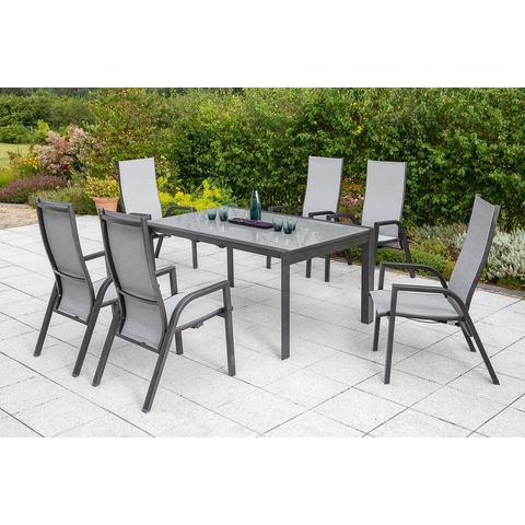 MERXX Tuinmeubelset San Remo, 7 st., 6 hoge rug, tafel 104x160-220 cm, aluminium / textiel