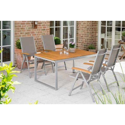 MERXX Tuinmeubelset Naxos, 5-dlg., 4 klapstoelen, tafel, aluminium/textiel/acacia