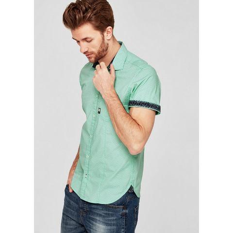 NU 15% KORTING: s.Oliver RED LABEL Slim: overhemd met korte mouwen en motief