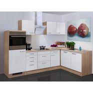 keukenblok met elektrische apparaten »valero«, totale breedte 280x170 cm, hoekkeuken wit