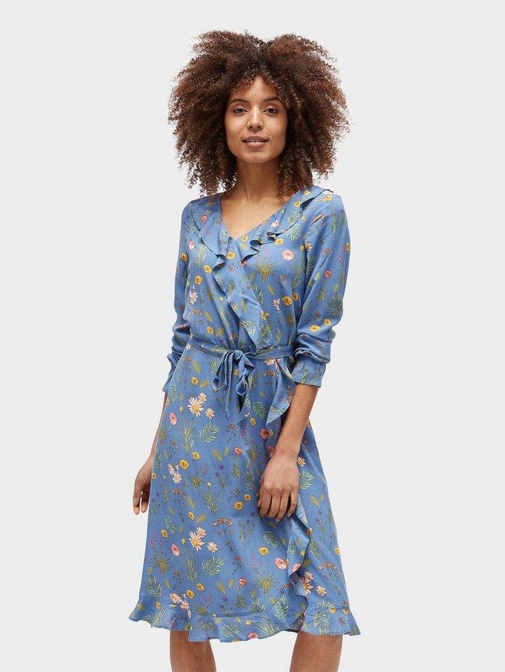 Tom Tailor jurk Ruchejurk met gebloemd motief blauw