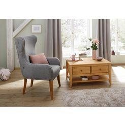 home affaire oorfauteuil shabelle in twee verschillende kleuren en leuke hout-look, zithoogte 47 cm grijs
