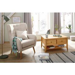 home affaire oorfauteuil yamuna met leuke beklede zitting, frame en poten van massief hout, zithoogte 47 cm beige