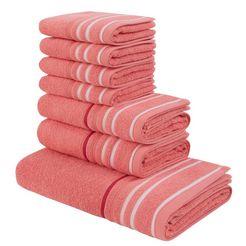 handdoekenset, my home, »niki«, met gestreepte rand (7-delige set) oranje