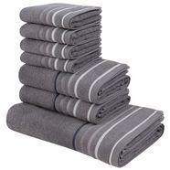 my home handdoekenset niki met gestreepte randen (set, 7 delig) grijs