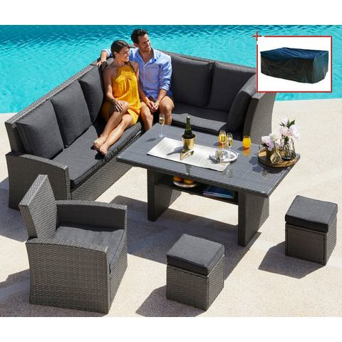 Complete set: Loungeset Santorini Premium, 20-dlg., hoekbank, fauteuil, 2 krukken, tafel, poly-rotan