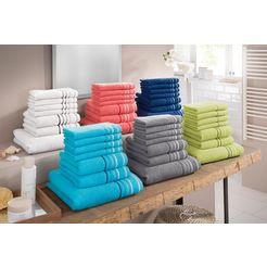 handdoekenset, my home, »niki«, met gestreepte rand (7-delige set) wit