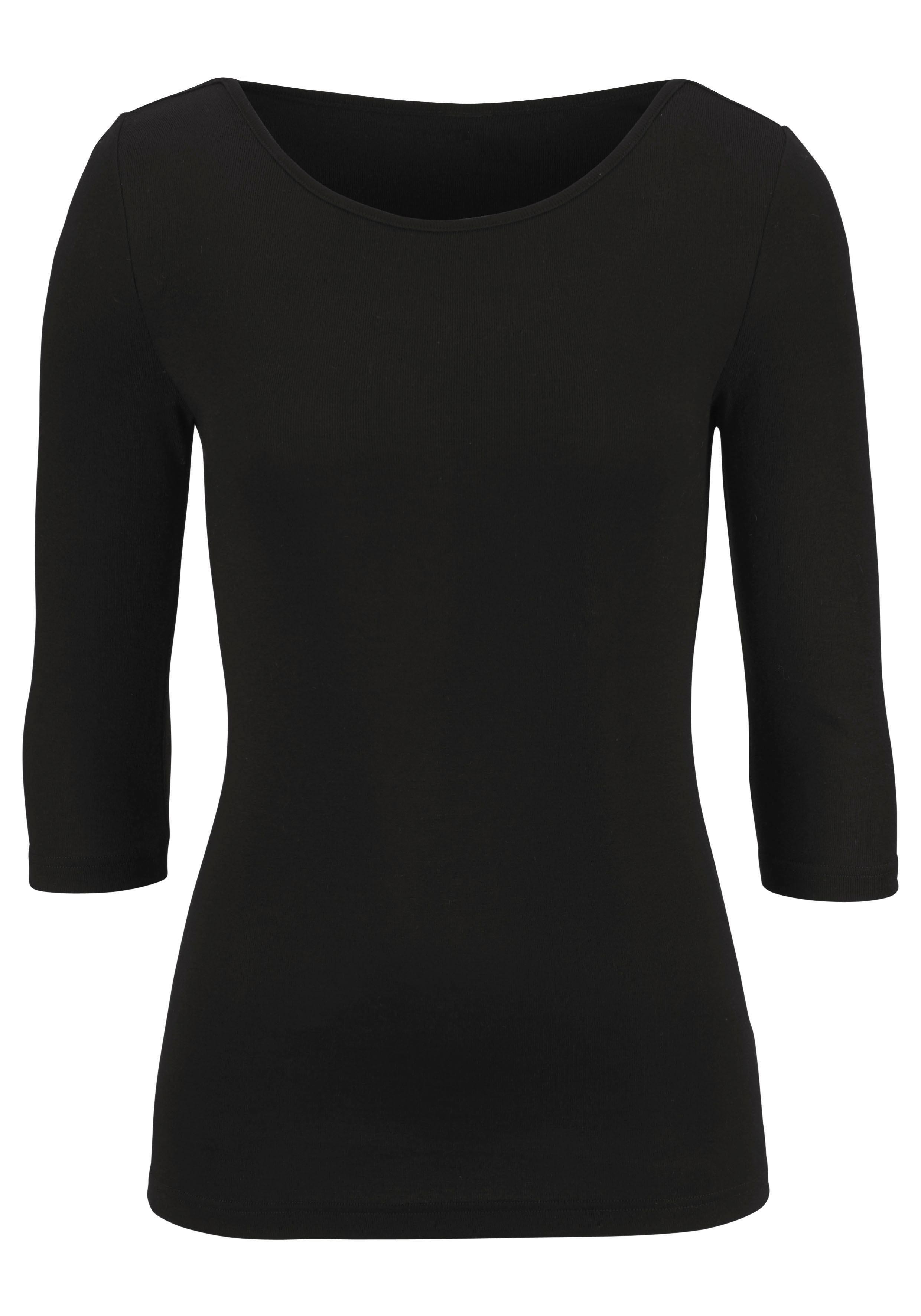 In 2Zacht Fijnrib Shirt Met Driekwartmouwenset Van Online Lascana materiaal Winkel De pzMGjLSqUV