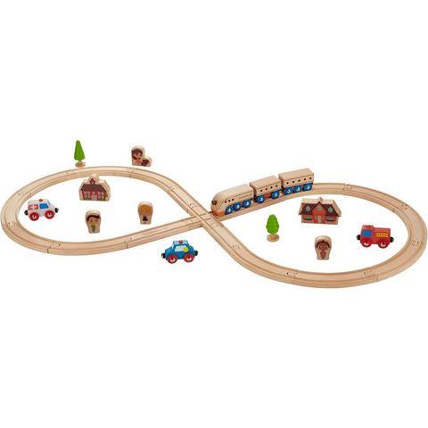 EverEarth® houten speelgoed, 32-delig, Spoorwegset