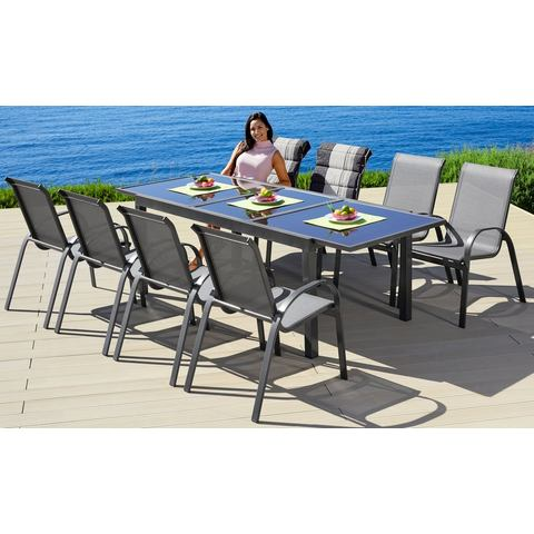 MERXX Tuinmeubelset Amalfi, 9-delige, 8 stapelbare fauteuils, tafel 100x180-240 cm