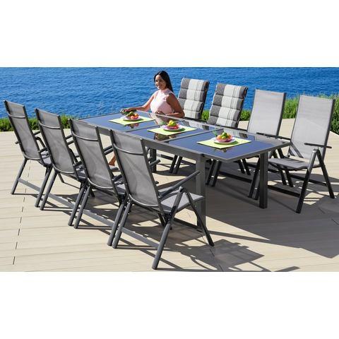 MERXX Tuinmeubelset Amalfi, 9-dlg., 8 opklapbare fauteuils, tafel 100x180-240 cm